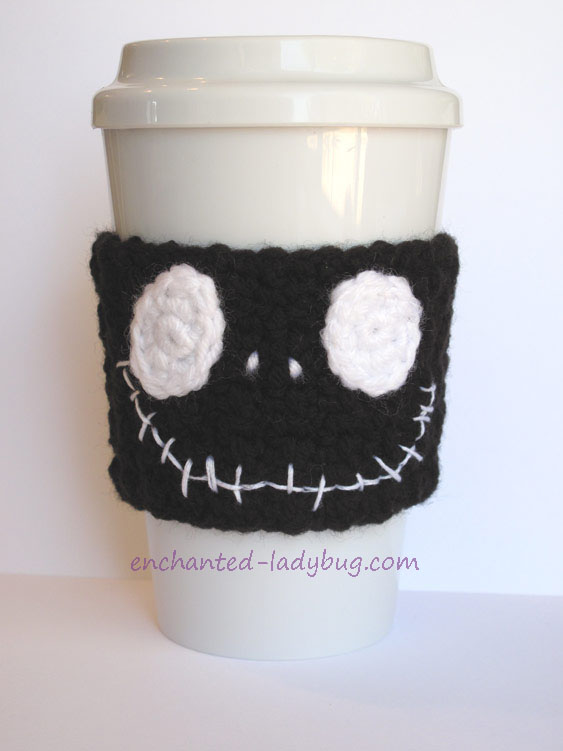 Free Crochet Jack Skellington Coffee Cup Cozy Pattern