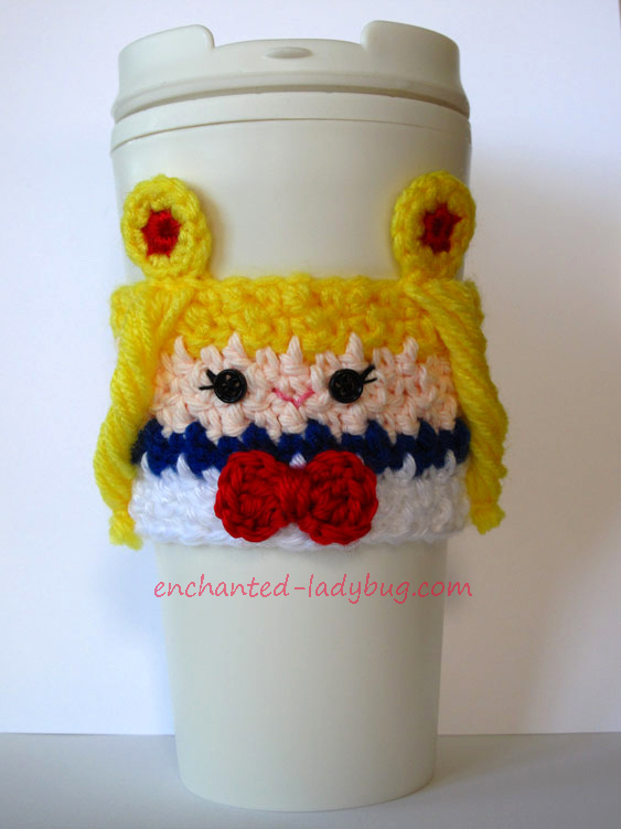 Free Crochet Sailor Moon Coffee Cup Cozy Pattern