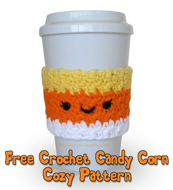 Free Crochet Candy Corn Coffee Cup Cozy Pattern