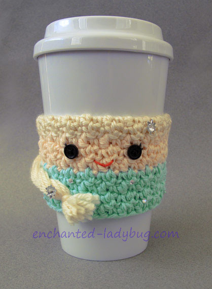 Crochet Queen Elsa Frozen Coffee Cup Cozy Pattern