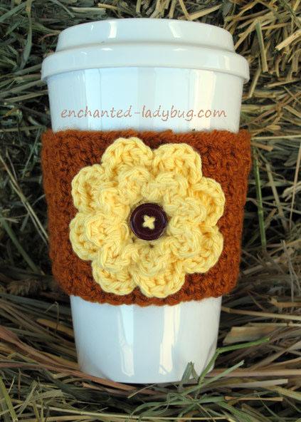 Crochet Autumn Fall Flower Coffee Cup Cozy Pattern