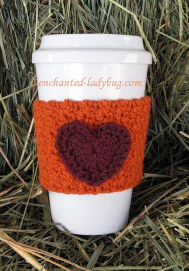 Free Crochet Heart Coffee Cup Cozy Pattern