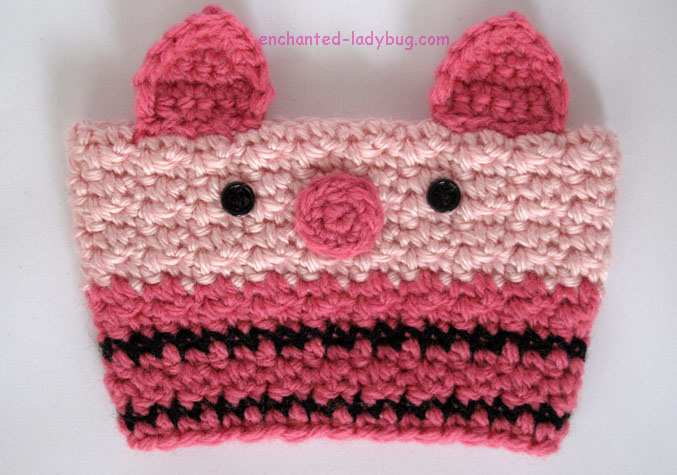 Free Crochet Piglet Coffee Cup Cozy Pattern