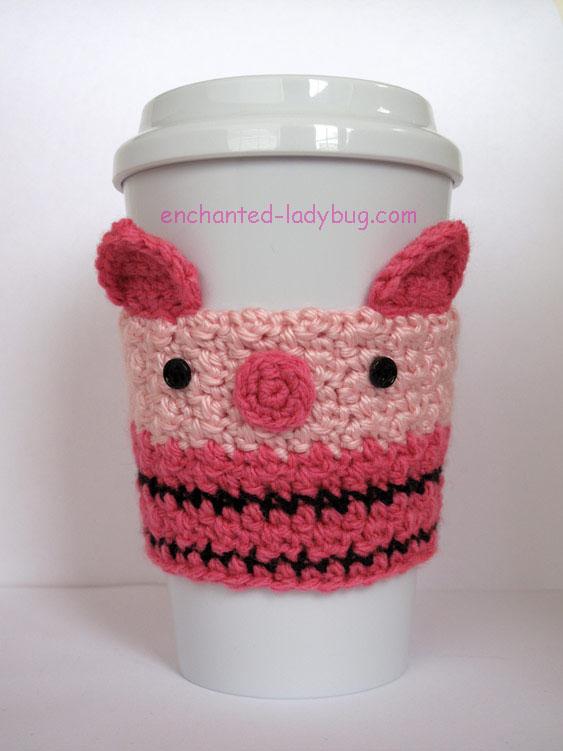 Free Crochet Piglet Coffee Cup Cozy Pattern