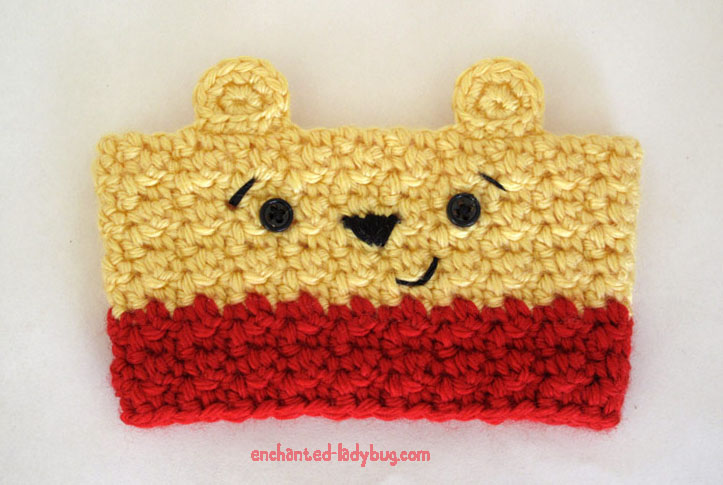 Free Crochet Winnie the Pooh Coffee Cup Cozy Pattern