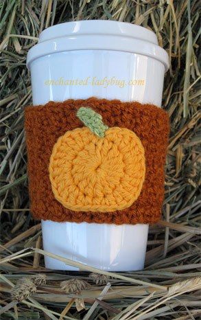 Free Crochet Pumpkin Coffee Cup Cozy Pattern