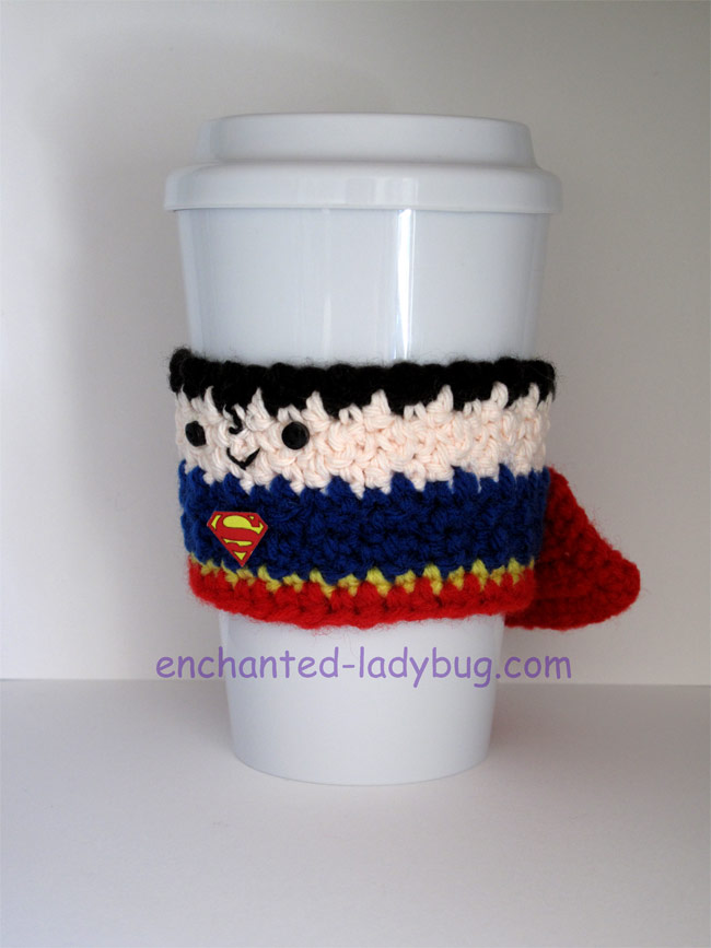 Free Crochet Superman Coffee Cup Cozy Pattern