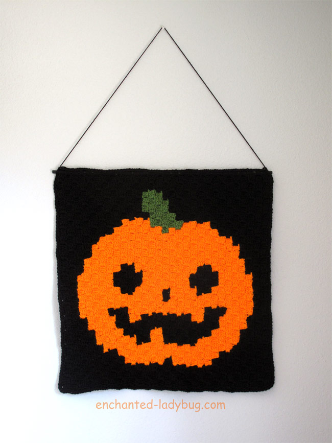 Free Halloween Jack 'o Lantern Graph Design for Crochet Corner to Corner Wall Hanging Decoration