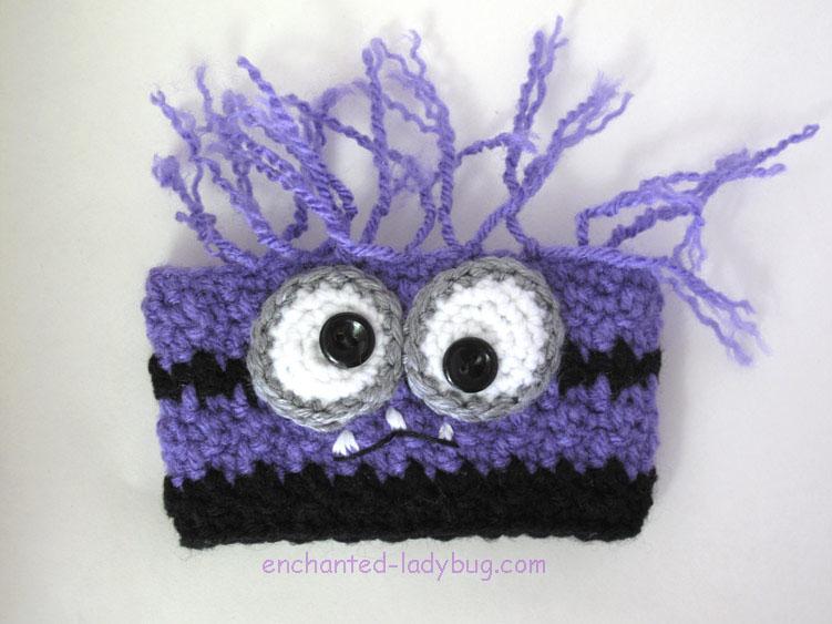 Free Crochet Evil Purple Minion Coffee Cup Cozy Pattern