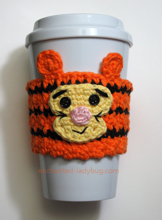 Free Crochet Tigger Coffee Cup Cozy Pattern