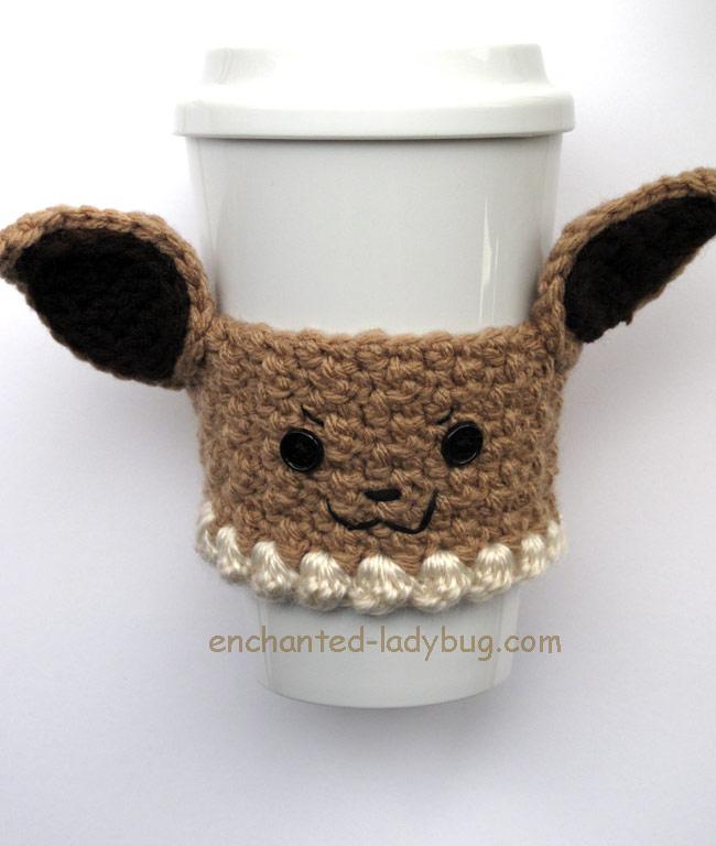 Free Crochet Pokémon Eevee Coffee Cup Cozy Pattern