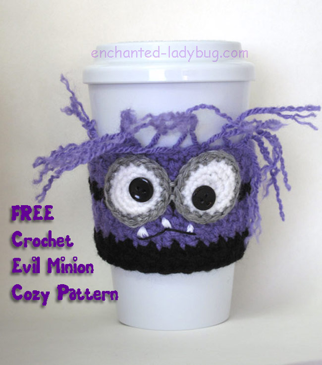 Free Crochet Evil Purple Minion Coffee Cup Cozy Pattern