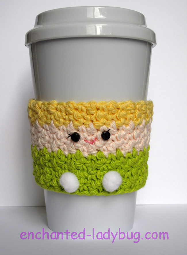 Free Crochet Tinker Bell Coffee Cup Cozy Pattern