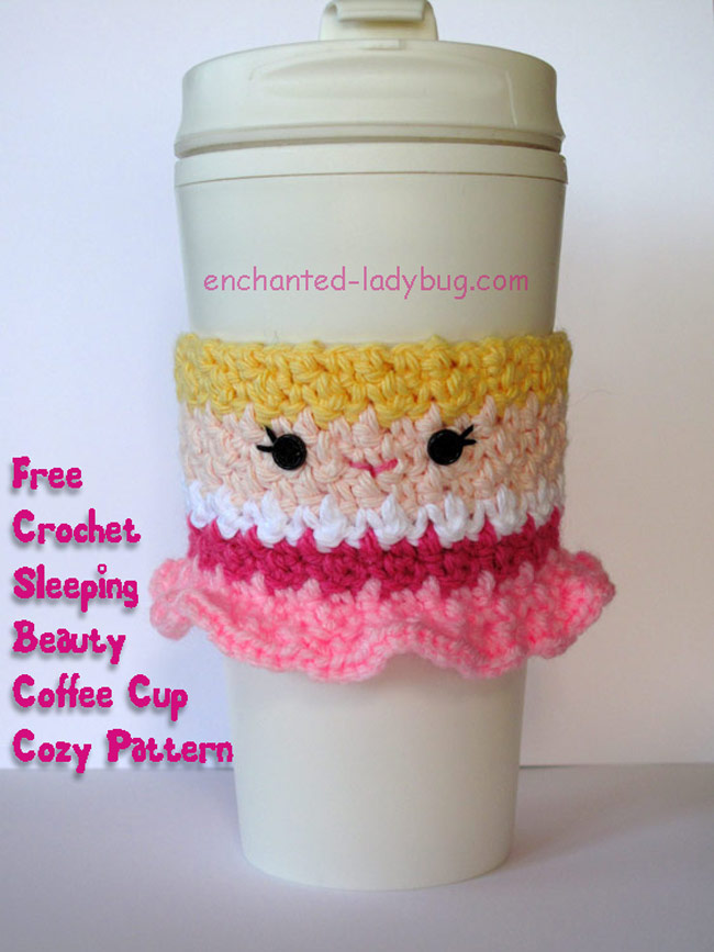 Free Crochet Sleeping Beauty Princess Coffee Cup Cozy Pattern