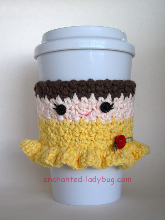 Free Crochet Belle Coffee Cup Cozy Pattern