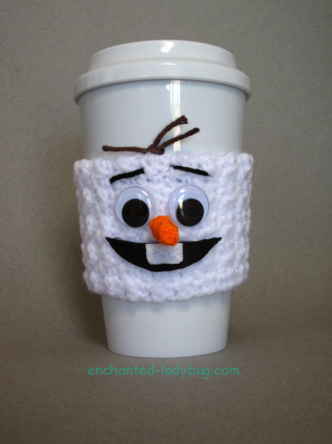Free Crochet Olaf Coffee Cup Cozy Pattern