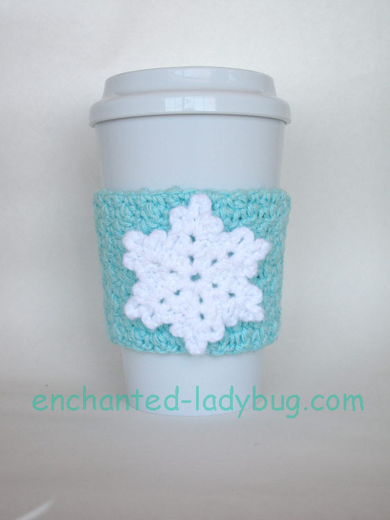 Free Crochet Snowflake Coffee Cup Cozy Pattern