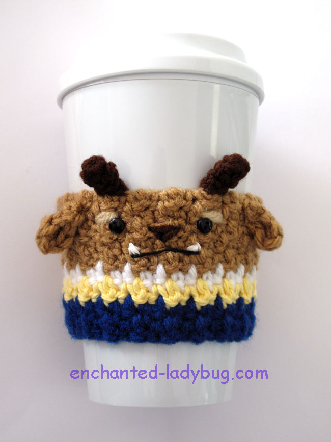 Free Crochet Beast Coffee Cup Cozy Pattern