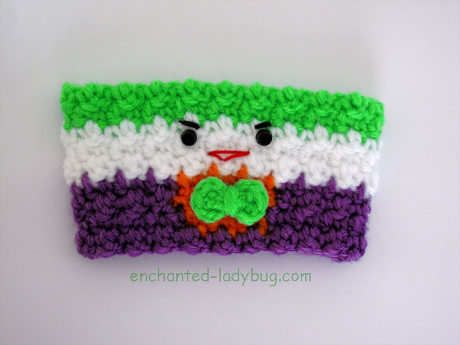 Free Crochet Joker Coffee Cup Cozy Pattern