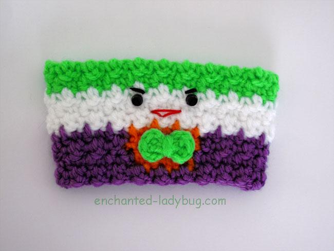 Free Crochet Joker Coffee Cup Cozy Pattern