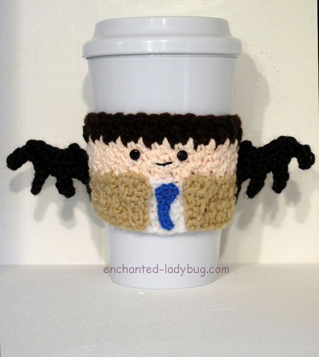 Free Crochet Supernatural Castiel Coffee Cup Cozy Pattern