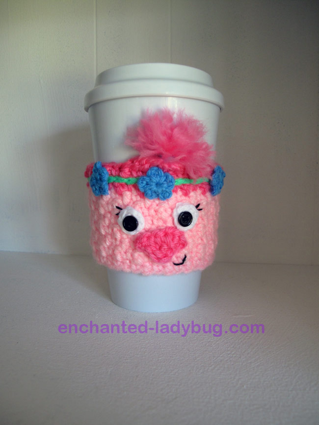 Free Crochet Poppy the Troll Coffee Cup Cozy Pattern
