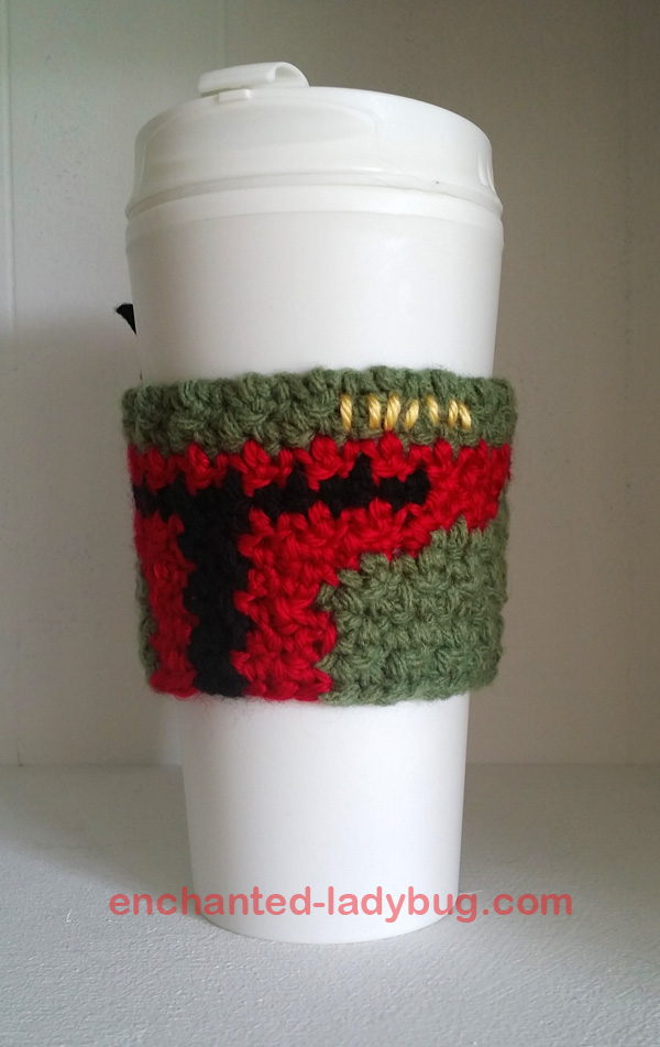 Free Crochet Boba Fett Star Wars Coffee Cup Cozy Pattern