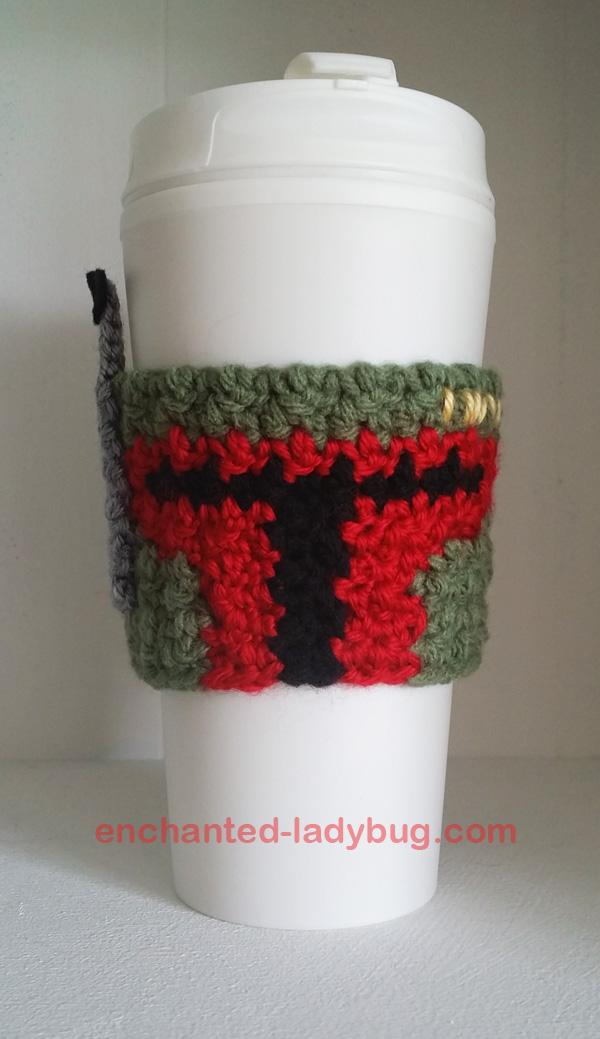 Free Crochet Boba Fett Star Wars Coffee Cup Cozy Pattern