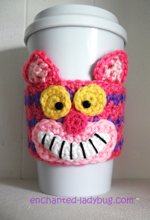 Free Crochet Cheshire Cat Coffee Cup Cozy Pattern