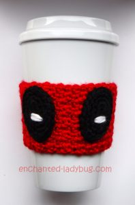 Free Crochet Deadpool Coffee Cup Cozy Pattern