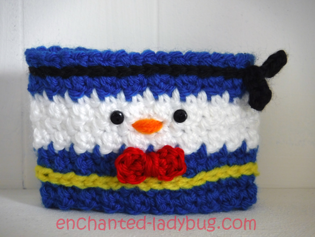 Free Crochet Donald Duck Coffee Cup Cozy Pattern