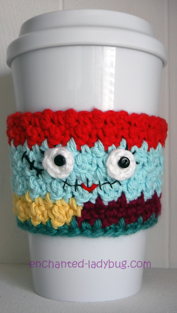 Free Crochet Nightmare Before Christmas Sally Coffee Cup Cozy Pattern