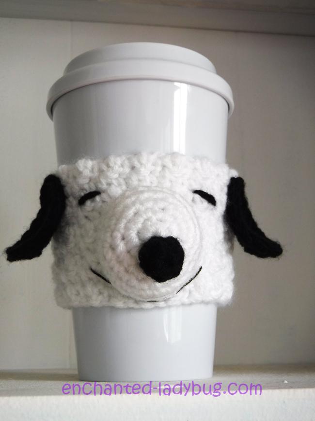 Free Crochet Snoopy Coffee Cup Cozy Pattern