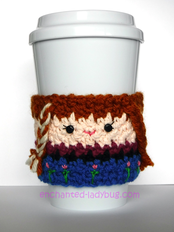 Free Crochet Frozen Anna Coffee Cup Cozy Pattern