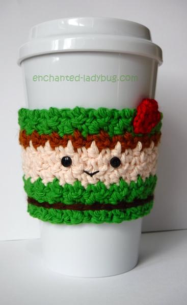 Free Crochet Peter Pan Coffee Cup Cozy Pattern