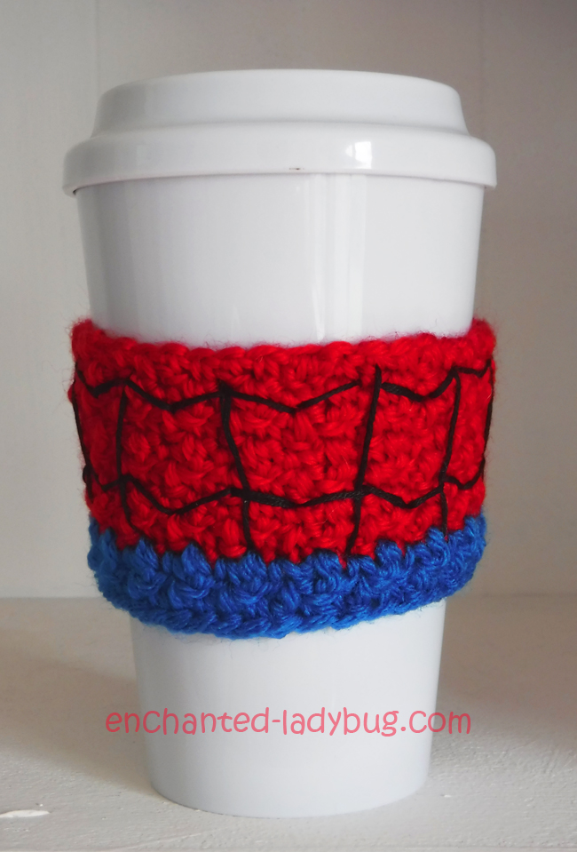 Free Crochet Spider-man Coffee Cup Cozy Pattern