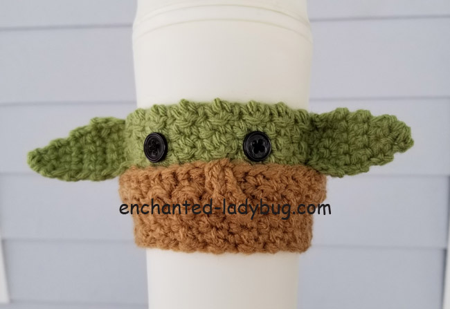"Free ""The Child"" Baby Yoda Crochet Coffee Cup Cozy Pattern"