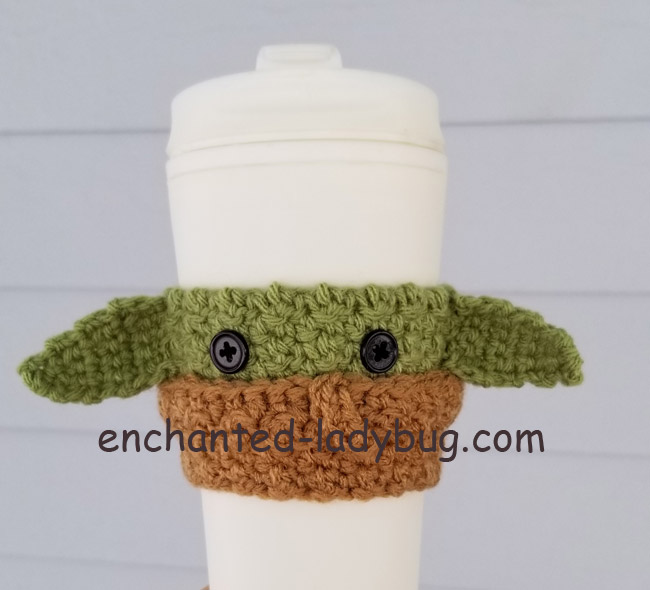 "Free Crochet ""The Child"" Baby Yoda Coffee Cup Cozy Pattern"
