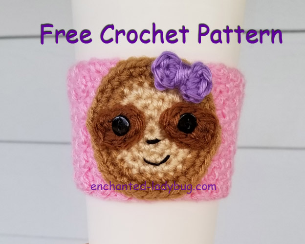 Free Crochet Sloth Coffee Cup Cozy Pattern