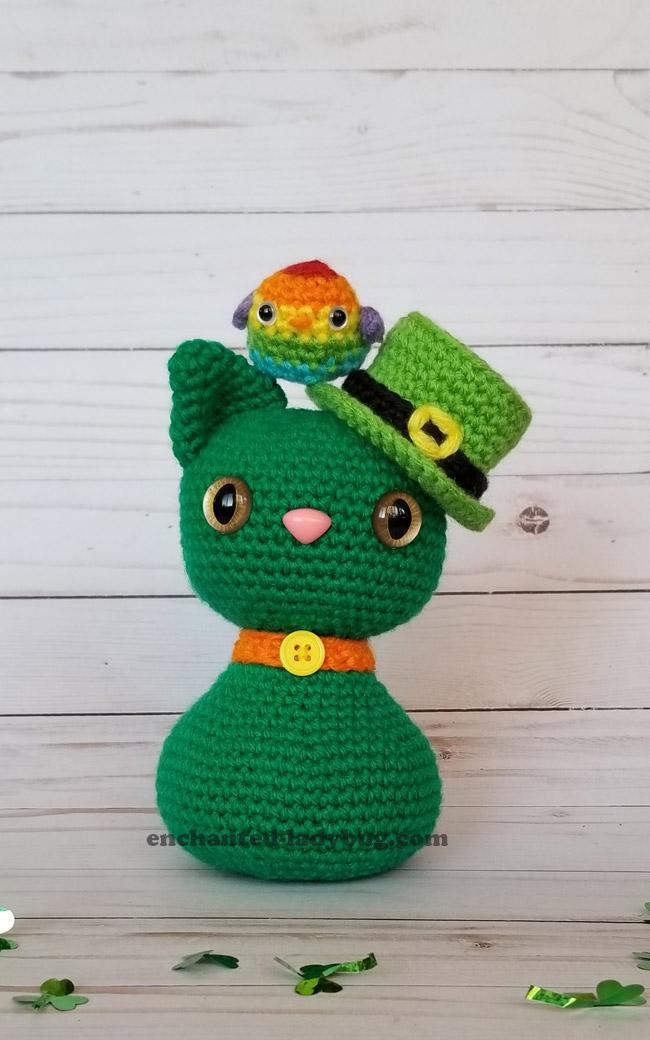 FREE St. Patrick's Day Cat and Rainbow Bird Amigurumi Crochet Pattern