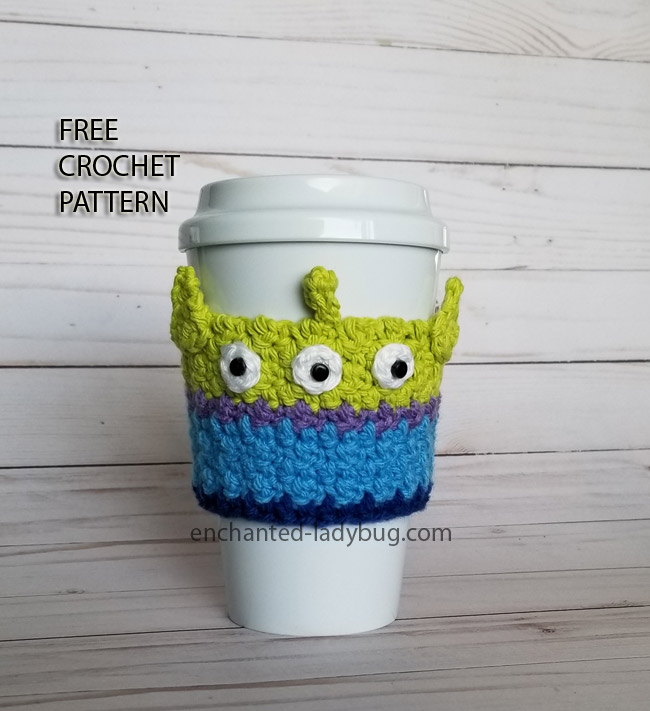 Free Crochet Pattern: Toy Story Alien Coffee Cup Cozy