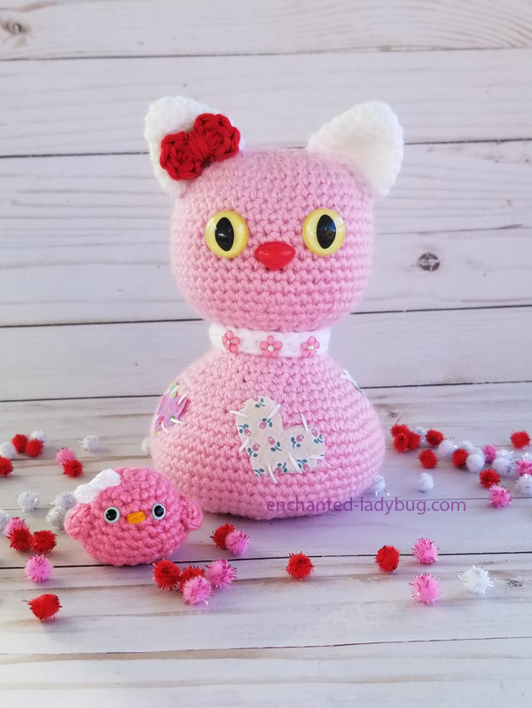 Crochet Amigurumi Valentine's Day Cat and Bird